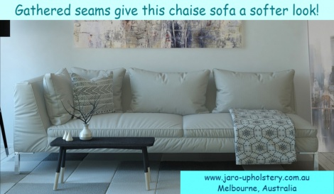 Chaise Sofa with Gathered Seams for a Soft Look.