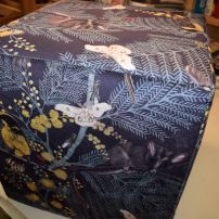 Cube Ottoman featuring Australian Animals and Plants Printed Velvet made by JARO