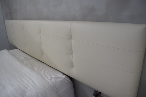 Cream Leather Bedhead with Square Stitched Panels and Blind Buttons by JARO Melbourne