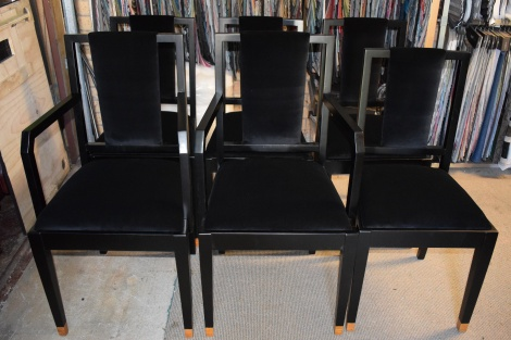 Dining Chairs Reupholstered in a Classy Black Velvet.