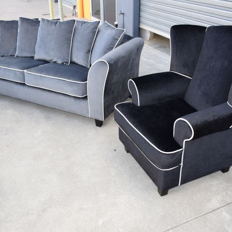 Sofas & Wing Chairs Reupholstered in Grey & Charcoal Velvet with White Contrast Piping SE Melbourne