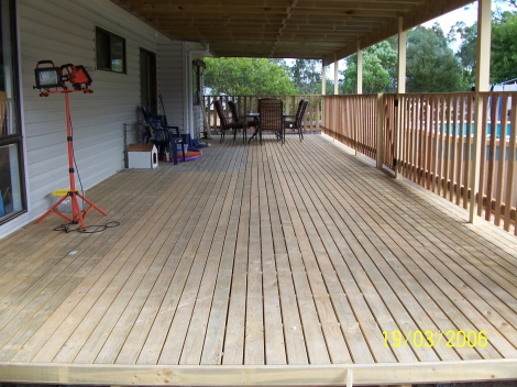 Treated Pine Deck With Timber Picket Handrails