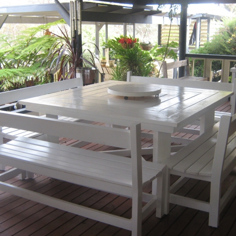 Outdoor Table with Bench Seats