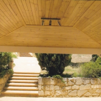 Pine ceiling inside patio
