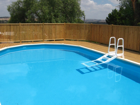 Pool fence and deck