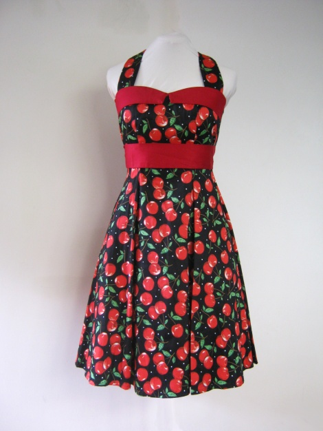 Pin Up Girl Cherry Halter Dress.
