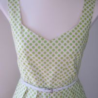 Martha Dress: Green & white spot