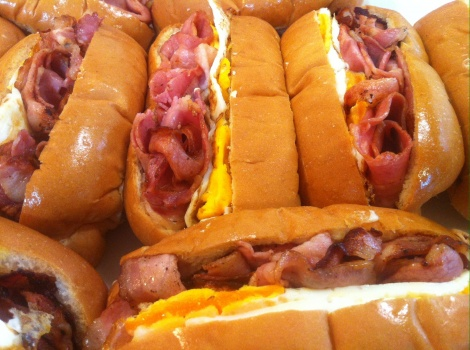 Hot Bacon and Egg Rolls