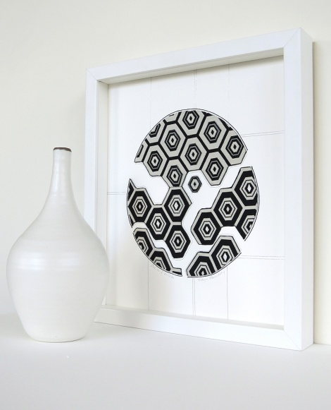 Original textile artwork in white box frame