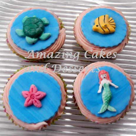 Mermaid and sea creatures cupcakes