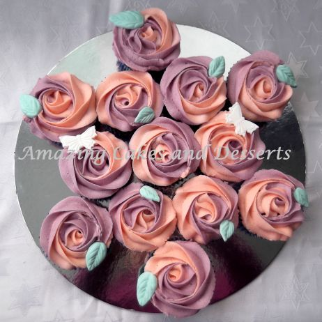 bicoloured Rose cupcake bouquet