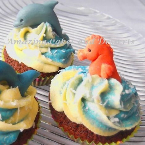 Dolphin and Seahorse Cupcakes