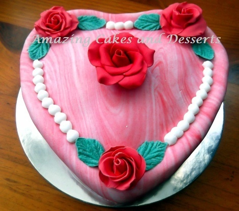 marbled heart and rose cake