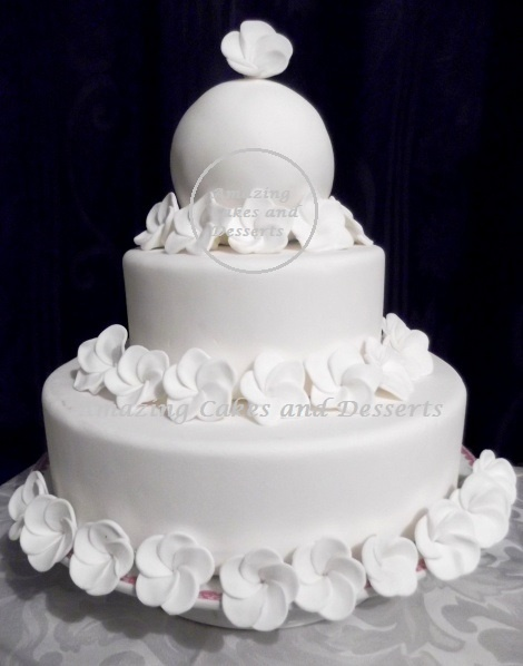 White Tropical Flower Wedding Cake