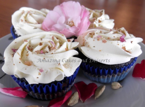 Chocolate Cardamom and Rosewater Cupcakes