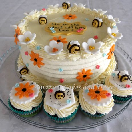 Bumble Bee Gender Reveal Cake and Cupcakes