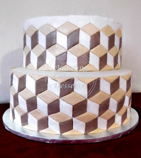 Illusion 3D Cube effect cake