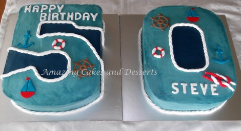 Nautical Number Cakes