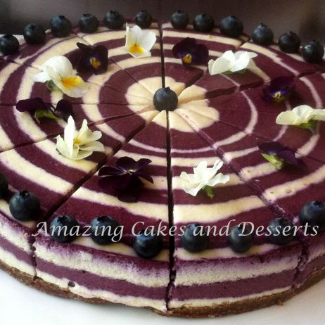 Blueberry Zebra GF Vegan Cheesecake