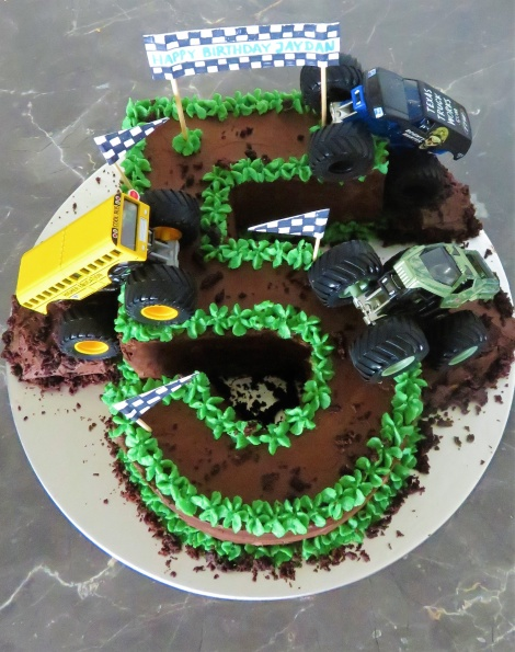 Number Monster Truck Cake