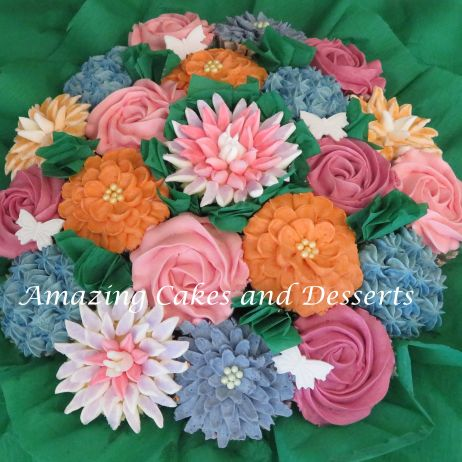 Mixed coloured large Cupcake bouquet