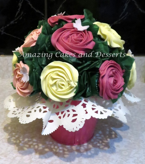 Pink and White Cupcake Flower Pot