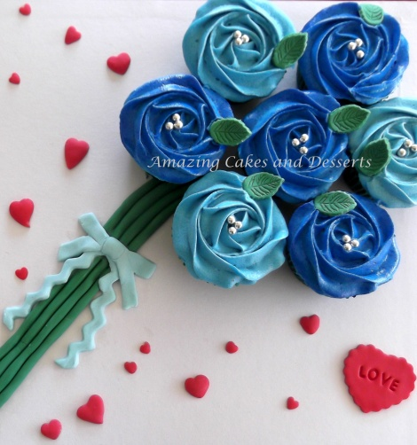 Blue Roses cupcake bouquet