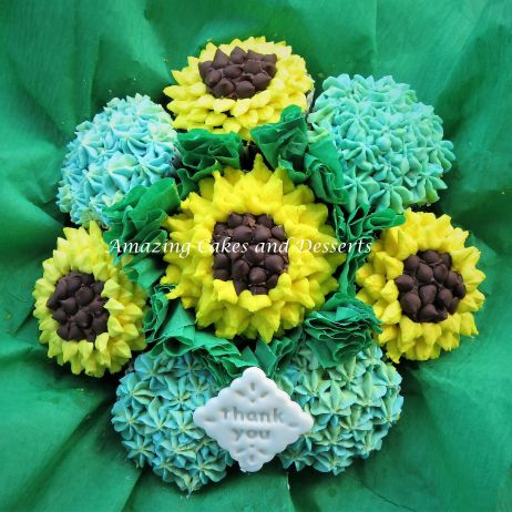 Sunflower cupcake bouquet with a message