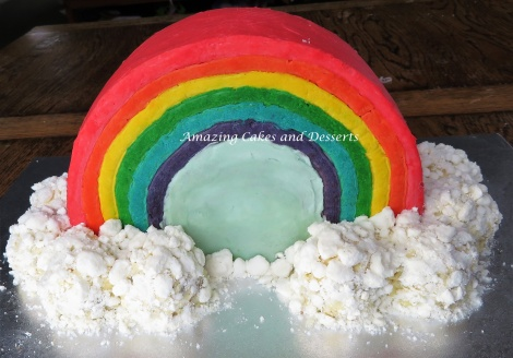 Rainbow and Clouds Cake