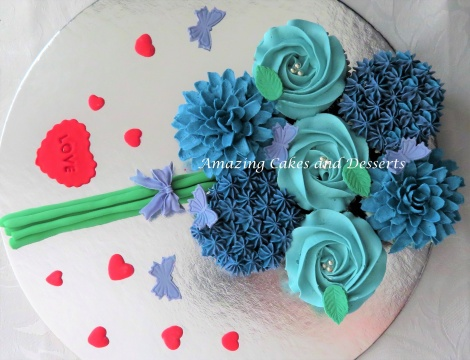 Blue Cupcake and Hearts Bouquet