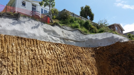 Shotcrete stabilization to crumbling bank