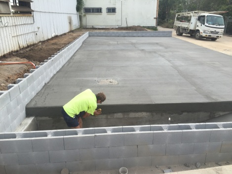 Constructed Wash Bay with block work & slabs for Industrial Hire business.