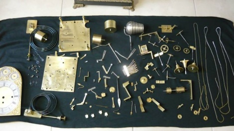 A lot of parts in a clock