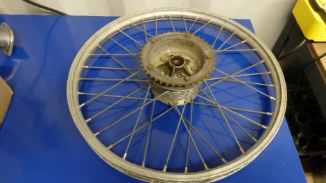 Very Old Puch Rear Wheel Before Cleaning