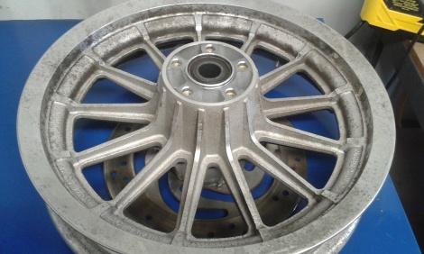 Harley Wheel Before Vapour Blasting