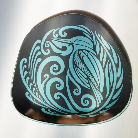 Large Pebble Platter Kingfisher Turquoise on Charcoal