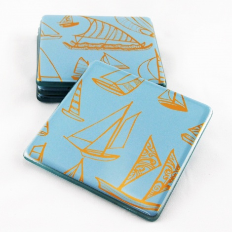 Yacht Coasters in Bay Blue & Gold