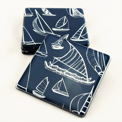 Square Coasters Yachts in Indigo & White