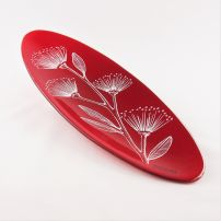 Oval Platter in Pohutukawa Red & White