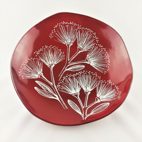 XL Oyster Bowl in Pohutukawa Red & White