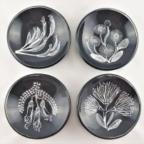 SL15 Tiny Round Bowl NZ Flora Charcoal and White