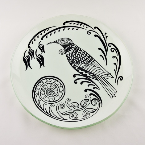Large Round Platter Tui in White and Charcoal