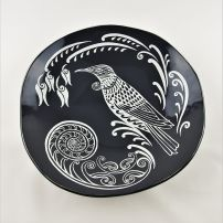 Large Oyster Bowl Tui in Charcoal and White