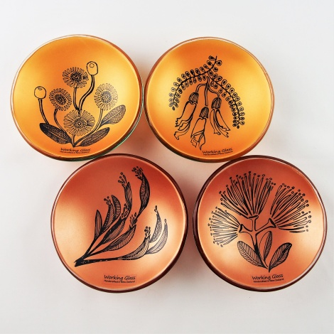 SL15 Tiny Round Bowl Set 4 Native Flora in Cappuccino & Gold