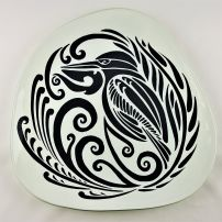 Large Pebble Platter Kingfisher Charcoal on WHite