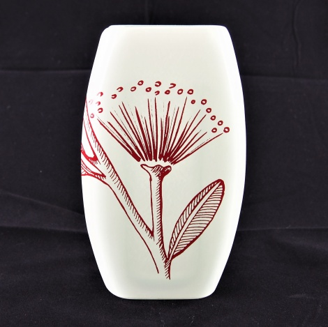Small Oval Vase Pohutukawa White & Red