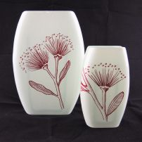 Oval Vase Set Pohutukawa White & Red