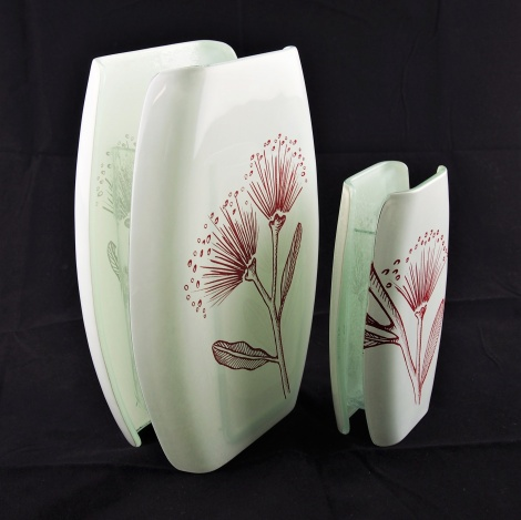 Large and Small Oval Vases  Pohutukawa White & Red