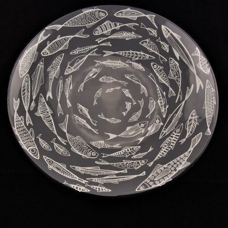 Large Round Bowl with Fish in Slate Grey andWhite