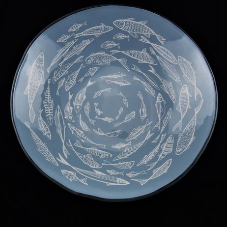 XL Round Bowl with Fish in Bay Blue and White